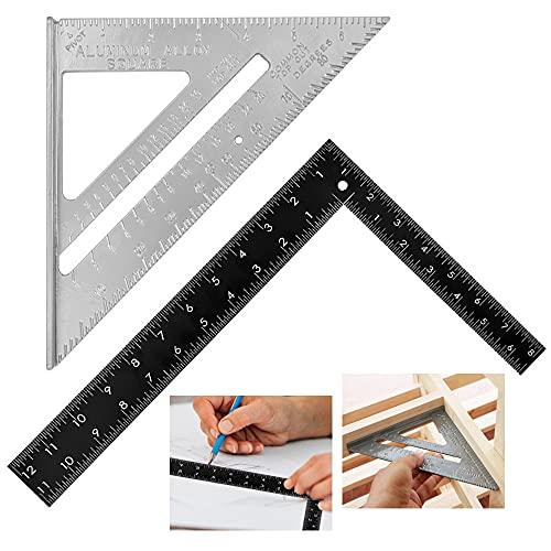 GIRAFEDA 2 Pcs Escuadra Aluminio Carpintero Escuadra Triangular 7 Pulgadas 90 Grados 45 Grados Regla 90 Grados Escuadra Carpintero Aleación de Aluminio Métrico/Imperial para Carpintero Bricolaje