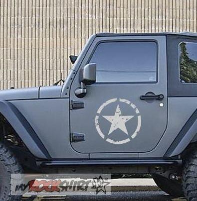 myrockshirt 2 x Jeep Stern 40 cm Willi US Army Force Aufkleber,Sticker, Autoaufkleber,Auto,Lack,Scheibe, Tuning,