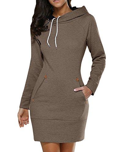 BUIBIU Women's Long Sleeve Cotton Slim Fit Midi Hoodie Dress with Pocket Coffee 2XL