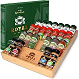 Bamboo Kitchen Drawer Organizer - 4-Tier Bamboo Spice Rack Organizer for Drawer - Large Spice Tray for Kitchen Storage and Organization