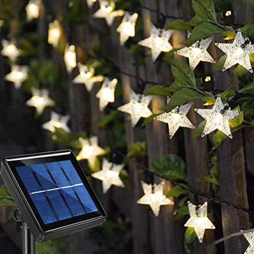 Homeleo 50ft 120LED Solar Decorative Star Fairy Lights, Outdoor Waterproof Solar Powered String Lights for Garden,Deck,Canopy,Gazebo,Porch,Pergola,Patio, Bushes,Yard,Tree,Christmas Decor,Warm White