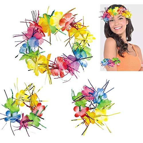 Amscan 395343 Hawaiian Rainbow Tinsel Lei Set-3pcs, Multicolor, 9.07g