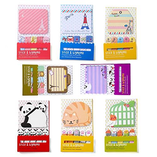 Simpatici foglietti adesivi, segnalibri rimovibili con etichetta Self-Stick Tabs Index - 8 pastiglie per confezione - 120 fogli per riquadro (8 pezzi)