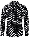 Allegra K メンズ シャツ 長袖 ボタンダウン 水玉プリント ポイントカラー カジュアル ブラック 38