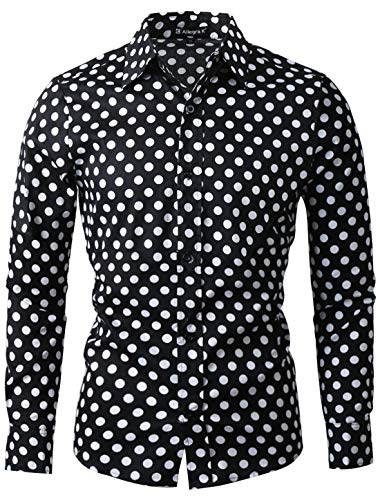 uxcell Men's Shirts Polka Dots Long Sleeve Slim Fit Printed Dress Button Down Shirt 38 Black