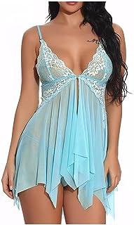 فستان مثير للنساء زهري دانتيل شفاف مثير ملابس داخلية بيبي دول قميص فستان ليلي لباس داخلي ملابس نوم مثيرة 3XL