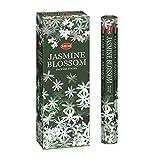 Jasmine Blossom–Caja de seis tubos de 20Stick Hex–incienso dobladillo enrollado a mano en la India