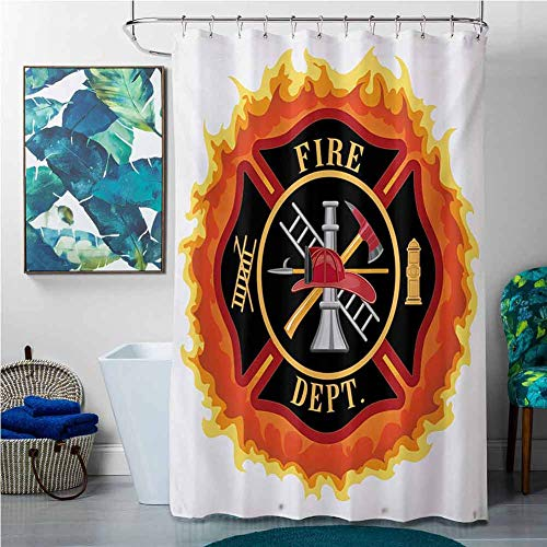 SKDSArts Shower Curtains Under 10.00 Fireman,Fire Department Icon with Ladder Public Service Essential Tools of Firefighters,Multicolor,W69 x L90 Christmas Fish Shower Curtain