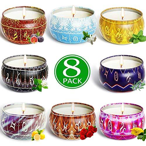 AMAYGA 8 Pack Regalo de Velas Perfumadas,Velas Aromaticas,Cera de Soja Natural,Aromaterapia Decoración para Relajación Fiesta Boda Baño Yoga Cumpleaños Navidad Día de San Valentín Regalos
