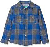 United Colors of Benetton Jungen Hemd Shirt, Blau (BLUE/BEIGE - CHECK), 7-8 Jahre (Herstellergröße: 130)