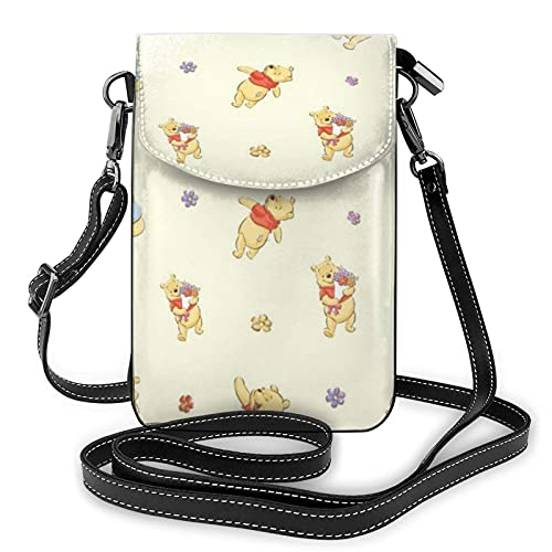 XCNGG Monedero pequeño para teléfono celular Women's Small Crossbody Bag with Shoulder Strap,Winnie The Pooh is Playing Small Cell Phone Purse Wallet with Credit Card Slots