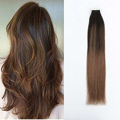 Sassina 16inch Tape in Hair Extensions Human Hair 20pcs 50g Mixed Color Balayage Dark Brown Fading to Chestnut Brown Double Sided Glue in (B2-6 16 Inch)