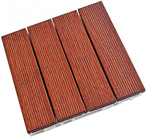 Baldosas de madera Terraza Baldosas 10 piezas de baldosas de piso de balcón, piso empalmado, piso de madera cosido a presión, adecuado, azulejos de cubierta entrelazados GCSQF210716(Size:300x300x30m