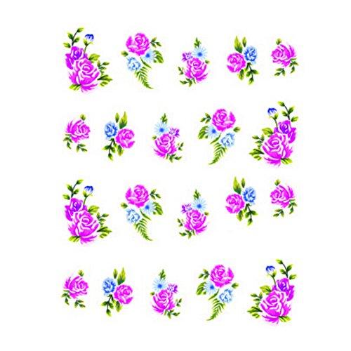 5Pcs Belle Motif Fleurs Nail Art Tips Sticker Décoration, BLE1716