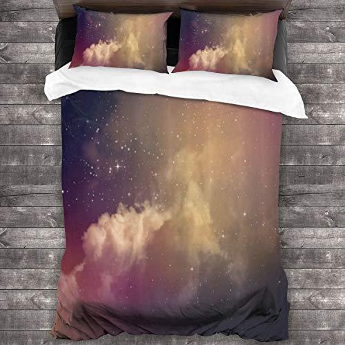 MAYUES Duvet cover bedding Set,Night Time With Clouds And Stars Space Constellations Depths Of Universe,3 Piece Set bedding with 2 pillowcases,Double(200 * 200cm)