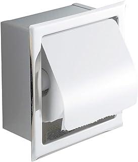 Freahap - Porta rotolo WC a incasso, con coperchio, supporto per carta igienica, 16,5 x 16,5 x 7,5 cm