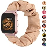 TOYOUTHS Scrunchie Bands Compatible with Fitbit Versa/Versa 2/Versa Lite Special Edition Women Elastic Fabric Strap Pattern Replacement Bracelet Wristband Accessories(Rose Beige, Large)