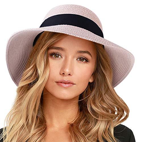 FURTALK Womens Beach Sun Straw Hat UV UPF50 Travel Foldable Brim Summer UV Hat (Medium Size (21.8