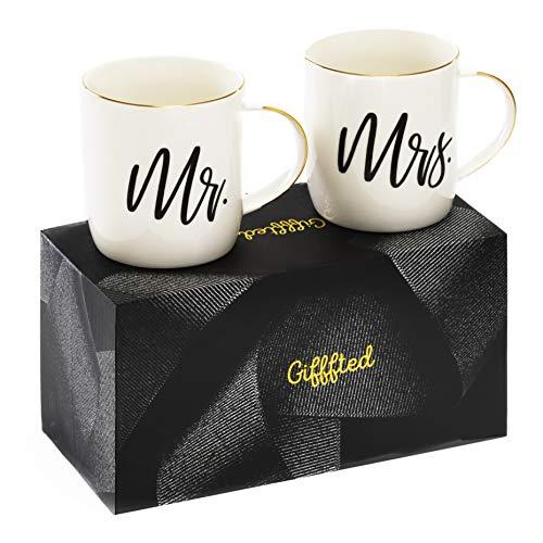 Gifffted Mr und Mrs Tassen Set, Paar-Kaffeetassen als Hochzeitsgeschenke für Brautpaar, Paare...