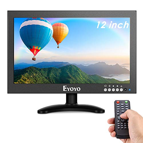 Eyoyo 12'' inch Small HDMI CCTV Monitor, 1366x768 IPS Metal Housing LED Screen W/Wall Bracket&Remote...