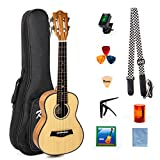 Ukulele Classical 23 Inch Ukelele Concert Hawaii Guitar With Bag Picks Tuner Strap String Cleaning Cloth Capo Finger Shot for Starter Beginner Kit