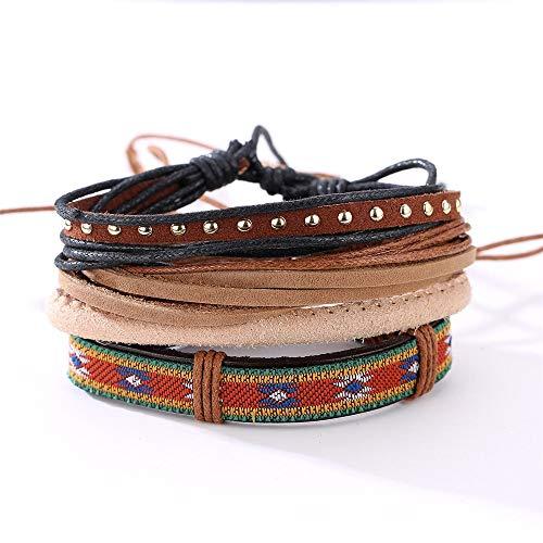 Yinglihua Armband voor Man Verstelbare Geweven Lederen Armbanden voor Mannen Gift voor Hem Haar Casual Unisex Multi Armband Unisex Manchet Wrap Armband