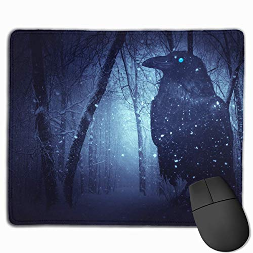 Drempad Gaming Mauspads Custom, Mouse Pad Forest Midnight Moonlight Crow Rectangle Non-Slip 11.8