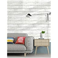 """HaokHome 5030 Shiplap Peel and Stick Wood Wallpaper Off White 17.7""""x 19.7ft Distressed Wood Plank Wallpaper"""