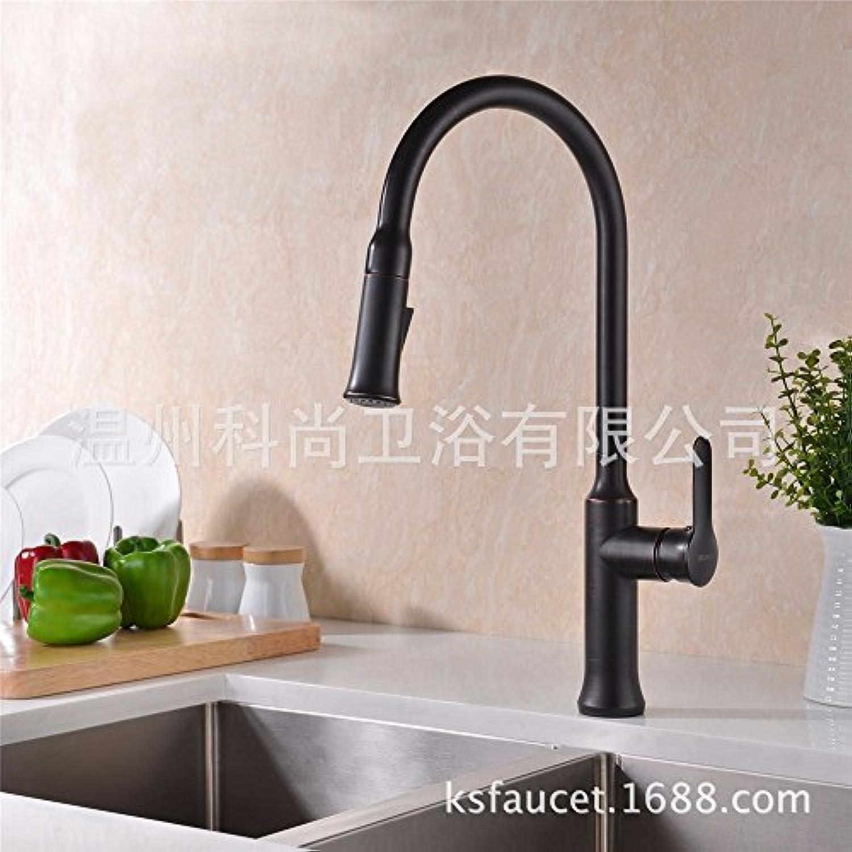 Bijjaladeva Wasserhahn Bad Wasserfall Mischbatterie Waschbecken Waschtisch Armatur für BadezimmerDie Schwarze Pull-Down Spüle Wasserhahn verfügt über Zwei mit Schwarzen Dusche)