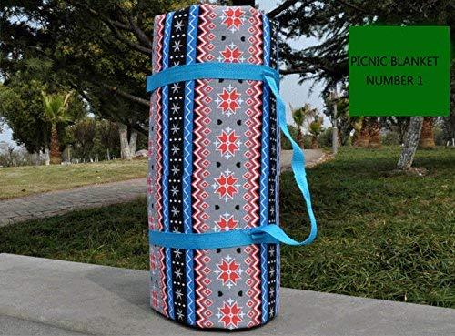 GGDGENJN Ethno-Stil Wasserdichte Picknickdecke Faltbare Baumwolle Strand Teppich Mat Außen Leichte Matte mit Tragetasche, tragbarer Camping-Decke, 200 x 200 cm-150 * 140 cm