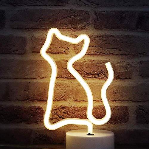 DANIDEER Letrero de neón con luces decorativas para mesa, lámpara de neón con base para dormitorio infantil y niña, regalo único para cualquier ocasión (gato blanco cálido con base)