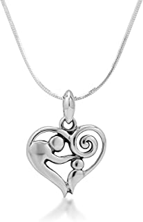 925 Sterling Silver Mom and Child Heart Mother's Day Pendant Necklace, 18 inches