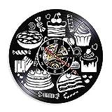 LKJHGU Pan Dulces Cupcake Reloj de Arte de Pared Signo de panadería Decoración de Pared Pastelería Disco de Vinilo Reloj de Pared Confitería Cocina Reloj Decorativo