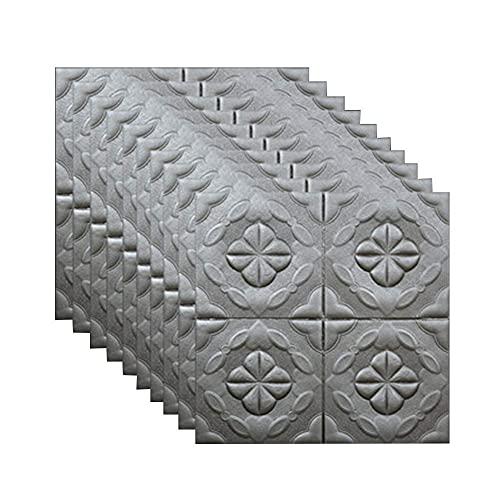 showyow 3D Brick Wallpaper, DIY wasserdichte Selbstklebende dekorative Tapete 3D White Pattern Wandpaneel, für Wohnzimmer Schlafzimmer Hintergrund Wanddekoration (10 Stück, 60x60cm)