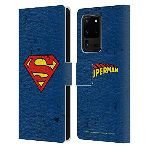 Head Case Designs Officially Licensed Superman DC Comics Distressed Logos Leather Book Wallet Case Cover Compatible with Samsung Galaxy S20 Ultra 5G