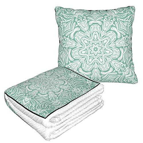 Manta de almohada de terciopelo suave 2 en 1 con bolsa suave ornamental de encaje redondo Mandala funda de almohada para el hogar, avión, coche, viajes, películas