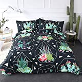 ARIGHTEX Cactus Duvet Cover Set Full Size Geometric Succulents Pattern Pattern Luxury Bedding Set Comforter Cover 1 Duvet Cover and 2 Pillowcases