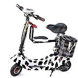 LHSUNTA Mini Scooter de Bicicleta eléctrica Plegable portátil con 30-50 km de Largo Alcance