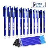 Penne Cancellabili - Olkoy 12 pcs 0.5mm Penne Cancellabili per Scuola e 30 pcs Ricariche Frixtion, per Scuola, Ufficio