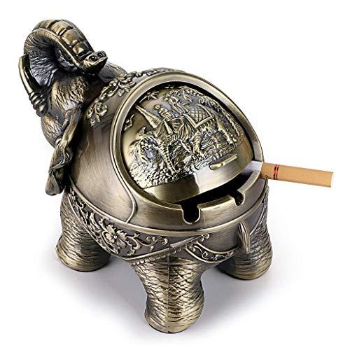 LGGUC6 Winddichter Aschenbecher im Alten Stil mit Deckel in Form eines Elefanten Tischaschenbechers, Zigarrenaschenbecher, Retro-Home-Office-Dekoration (Bronze)