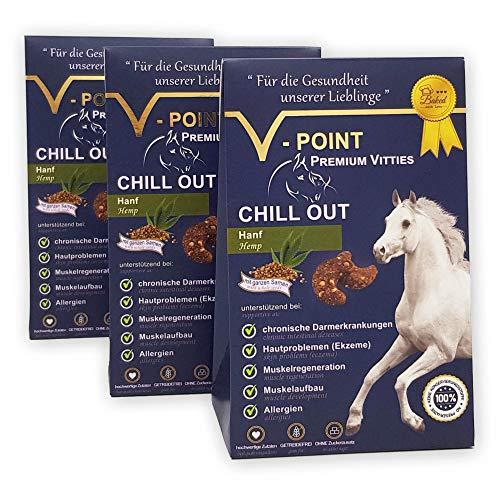 V-POINT HANF Premium Vitties für Pferde - Muskelaufbau Muskelregeneration bei Darmerkrankung Hautprobleme Allergien ohne Zuckerzusatz getreidefrei vegane gesunde Pferdeleckerli (3X 250g)
