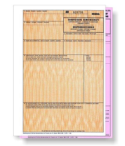 50 x Ursprungszeugnis 2-teilig = 100 Blatt, Original und rosa Antrag für Laser- und Inkjetdrucker, nummeriert, Ursprungszeugnisse