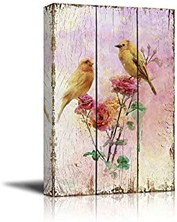 wall26 - Yellow Canary Birds on Branches with Pink Roses Over Wood Panels - Nature - Canvas Art Home Decor - 12x18 inches