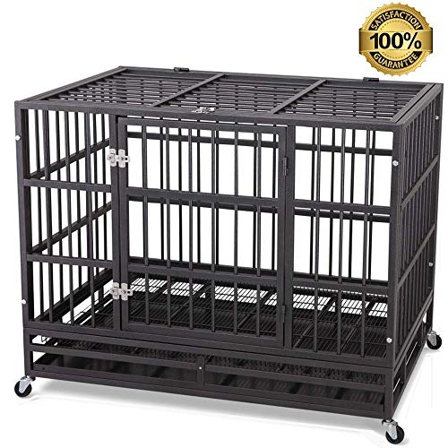 JY QAQA PET 48' Heavy Duty Dog Cage–Strong Folding Metal Crate Kennel and Playpen for Medium and Large Dogs with Double Door, Two Prevent Escape Lock, Tray and Rolling Wheels