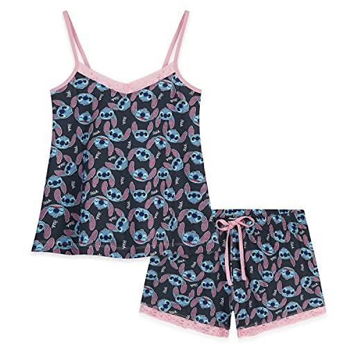 Disney Pijamas Mujer Verano, 2 Conjuntos de Dos Piezas Pantalones Cortos Mujer y Camiseta Tirantes con Personaje Stitch (Azul Oscuro, M)