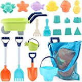 MINGPINHUIUS Beach Toys Kids Boys Beach Sand Toy Set with Barrow Elephant Bucket Two Big Shovels One rake and Mesh Bag Soft Plastic Material (20 pcs)