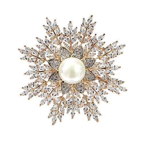 STOBOK Spilla Fiore Fiocco di Neve Elegante da Sposa in Cristallo per Donna Donna Conchiglia Perla Accessori Spilla da Balia (Dorato)