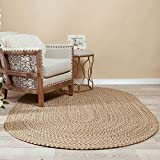 Super Area Rugs Braided Rug Sanibel Indoor/Outdoor Braided Classic American Made Carpet, Natural Tweed, 5' x 8' Oval