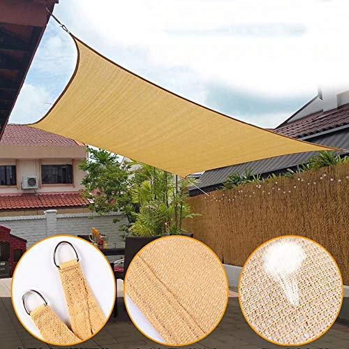 YUDEYU Sun Protection Shade Sail Spinnaker Four-cornered Sail Outdoor Shade Net Anti-aging Mesh (Color : Beige, Size : 3.66x3.66m)