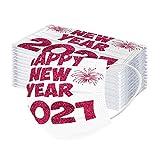 Auifor 10Stück Erwachsene Einweg Mundschutz Multifunktionstuch, 3-lagig Mode 2021 Frohes neues Jahr Drucken 𝐌aske,Weiche Atmungsaktive Vlies Mund-Nasenschutz Bandana Halstuch(F,10PC)